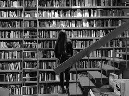 человек на лестнице, книжный шкаф