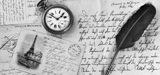 письмо, перо, часы