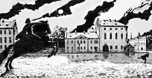 рисунок-иллюстрация к Медному всаднику Пушкина