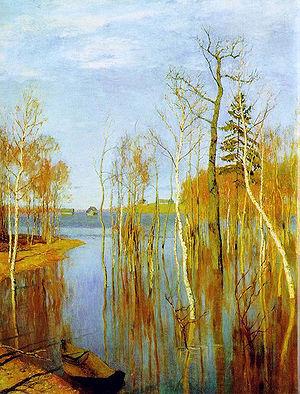 """картина Левитана """"Весна. Большая вода"""""""