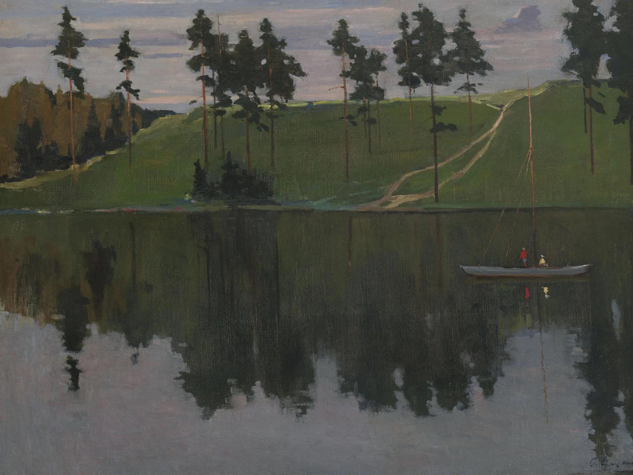иллюстрация к картине Нисского На лодке. Вечер
